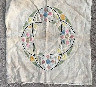 ANTIQUE ARTS & CRAFTS MISSION STICKLEY EMBROIDERED LINEN Pillow Cover