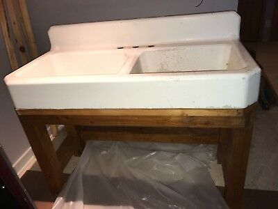 Vintage Double Bowl Rustic Farmhouse Porcelain & Cast Iron Standard Sink 1938