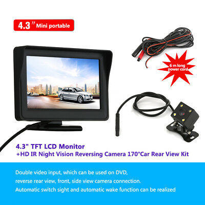 "Wired Car Rear View Kit 4.3"" LCD Monitor +HD IR Night Vision Reversing Camera CA"