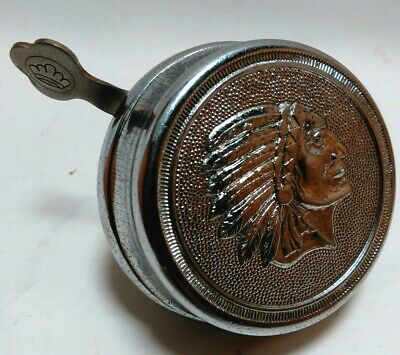 RARE Vintage 1950's INDIAN CHIEF'S HEAD Bicycle Bell Made in Germany Motorcycle