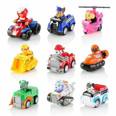 9pcs Paw Patrol Dog Action Figures Pup Doll Racer Car Set Kids Boy Girl Toy Gift