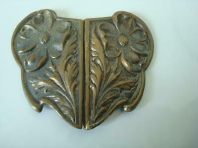 Vintage Antique Stamped Metal 2 Piece Sash Buckle With Art Nouveau Flowers