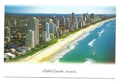 QLD - c2000s POSTCARD - LOOKING NORTH ALONG THE BEACHES OF SURFERS PARADISE, QLD