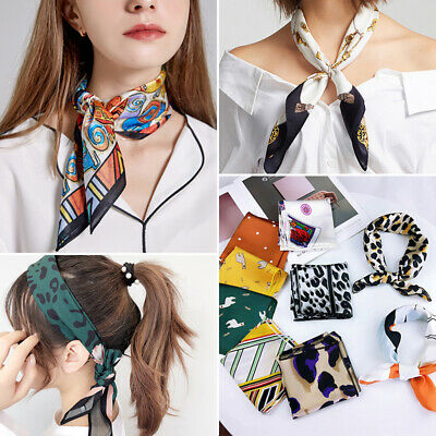 Women Square Silk Feeling Satin Scarf Small Head Neck Hair Tie Band Holiday New
