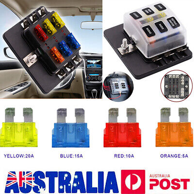 AU 6 Way Blade Fuse Box Block LED Indicator Positive Negative Fr 32V Car Marine