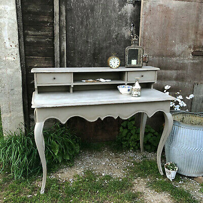 Grey French Country Style Lady's Writing Desk / Dressing Table Cabriole Legs