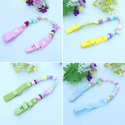 Baby Dummy Chain Silicone Wood Pacifier Clips Dummy Clip Newborn Teether Toy