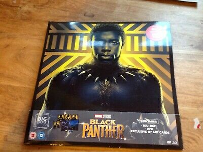 "Marvel Black Panther - Big Sleeve Blu Ray DVD  Unwatches + 4 12"" Art cards"