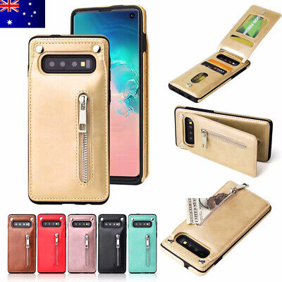 For Samsung Galaxy S10+ S10e Magnetic Flip Leather Card Zipper Wallet Case Cover