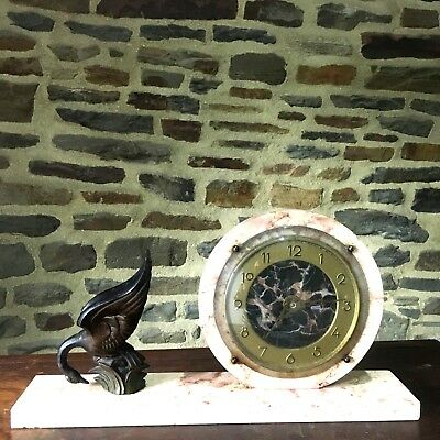 Vintage Art Deco Mantle Clock Marble with A SWAN   ART DECO PENDULE