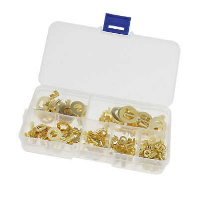 150PCS Brass Ring Cable Lugs Ring Eyelets Assorted Box M3 M4 M5 M6 M8 M10 Size