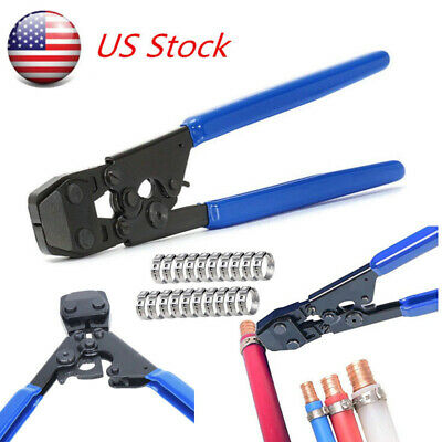 US Pex KIT Pipe Tube Crimper Crimping Tool Plumbing Cutter W/35Ring cinch clamps