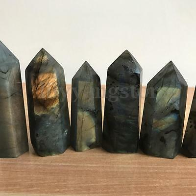 2Pcs Natural Labradorite Fluorite Quartz Crystal Wand Point Healing Seed Rock
