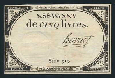 France: FRENCH REVOLUTION 31-10-1793 5 Livres. Pick A76 EF - Cat UNC $27, VF $13