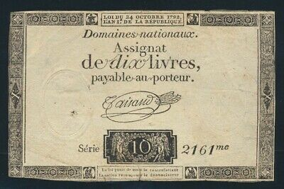 France: FRENCH REVOLUTION 24-10-1792 10 Livres HISTORIC! Pick A66a VF Cat $33+