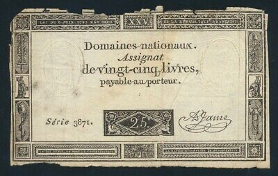 France: FRENCH REVOLUTION 6-6-1793 25 Livres HISTORIC NOTE! Pick A71