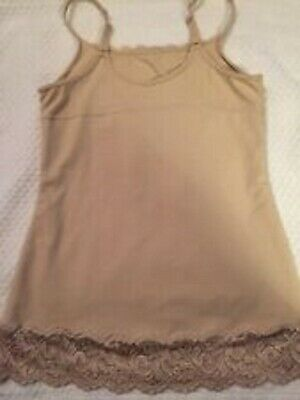 Maidenform Shapewear Lace Bottom Camisole Tank Sweet Nothings Beige 83666 Small