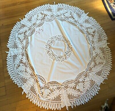 "Antique Vintage White Round Tablecloth 70"" Battenberg Tape Lace Monogram Cotton"
