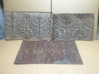 "3pc Lot of 18-23"" by 12"" Antique Ceiling Tin Vintage Reclaimed Salvage Art Craft"