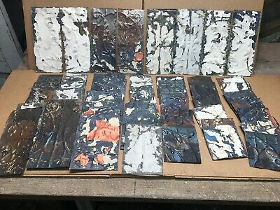 "50pc Craft Lot of 5-11"" by 5"" Antique Ceiling Tin Vintage Reclaimed Salvage Art"