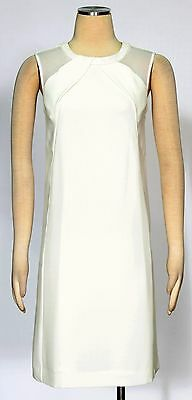 Tahari Ivory White Dress Size 8 Casual Faux leather Trim Shift Women's New *