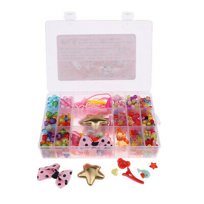 Colorful Acrylic Beads Set for Headwear Jewelry DIY Making Craft for Girls