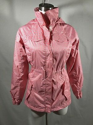Lands' End Girls'16 or Women's S Pink check Hooded Rain Jacket fleece lined