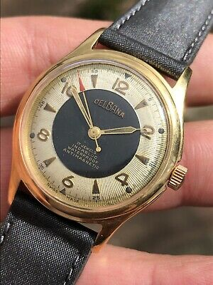 Vintage 1950s Delbana Bicolor Dial Mens Watch 33,5mm Swiss Made Hand-winding