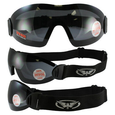 2 Goggles Motorcycle Riding Skydive Googles Clear & Smoke & 2 storages pouches.