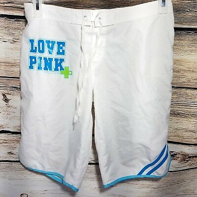 e82c357aec Love Pink Swim Shorts Womens Size Medium White Elastic Waist Board Trunks  Secret