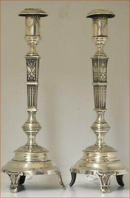 "Large Pair Of Fancy Antique Silver Candlesticks Poland Hallmarks ""Fik""  Verynice"