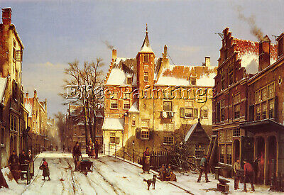 Willem Koekkoek A Dutch Village In Winter Artist Painting Reproduction Handmade