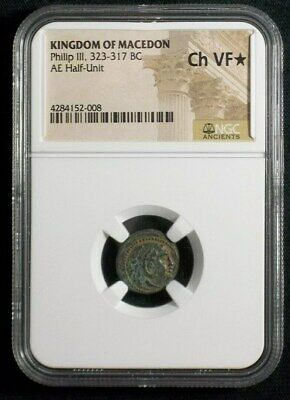 Greek coin of Philip III  AE Half Unit, 323-317 BC, NGC Ch VF Star 2008