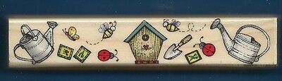 GARDEN BORDER BEES Bugs Bird House Style NEW large HERO ARTS craft RUBBER STAMP