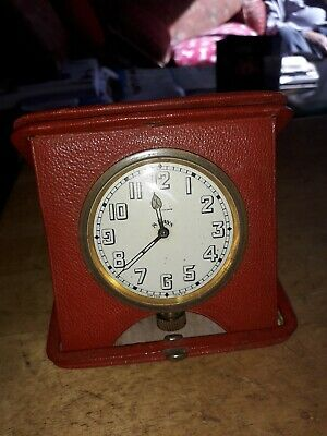 Vintage Brevet 8 Day Travel  Watch Leather Cased For Spare/ Repair Movement Runs