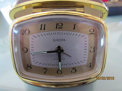 Vintage Europa Germany 2 Jewels Wind Up Travel Alarm Clock in Case
