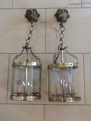 Antique Pair Of French  Twin Candle Electric Ceiling Lights.