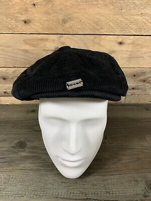 b8875e94442 Jaxon   James Mens Black Corduroy Flat Cap   Peaky Blinders Badge Size  Medium