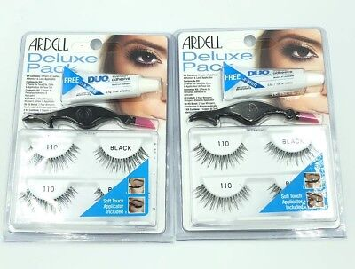 6202ef26b9c TWO ARDELL Deluxe 110 Pack False Eye Lashes Applicator Clear Duo Glue x2  Sets