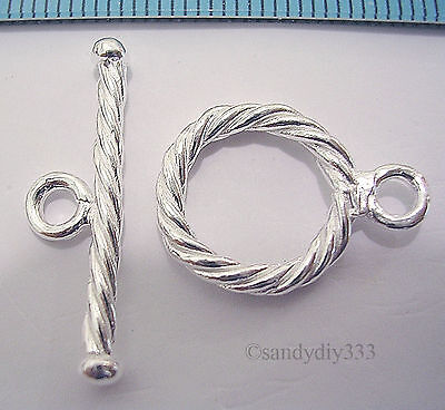 1x STERLING SILVER BRIGHT ROUND TOGGLE TWIST ROPE CLASP 14mm #696