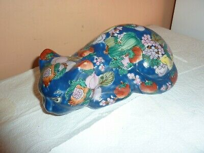 Chinese Hk 5 Dynasty Pottery 20Cm Long Blue Cat With Fruit/vegetable/leaf Design