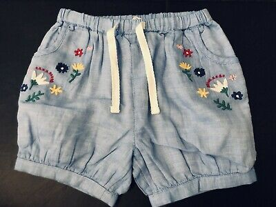 Brand New John Lewis Blue Cotton Flower Embroidered Summer Shorts 9-12 Months