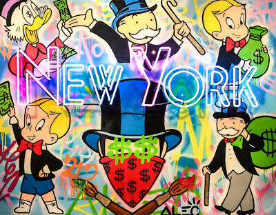 Alec Monopoly Oil Painting on Canvas Graffiti art New York Party 28x40""
