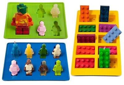 Building Brick & Two Multi-Size Minifigure Silicone Ice Tray and Mold Set