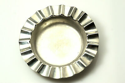 Vintage Antique 928 Sterling Silver Small Round Fluted Rim  Ashtray  (ANT2514)