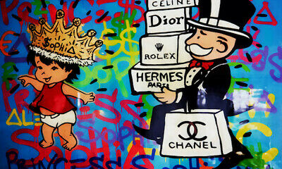 Alec Monopoly Oil Painting on Canvas Graffiti art Baby Sophia Brands 28x48""