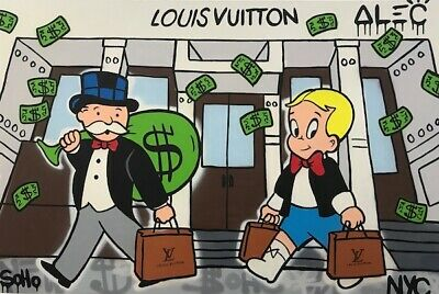 Alec Monopoly Oil Painting on Canvas Graffiti art Richie Rich LV 28x48""