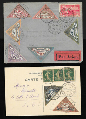 Poste Aerienne Airmail Postal Card Meeting Vincennes 1924 /  2 Lettres