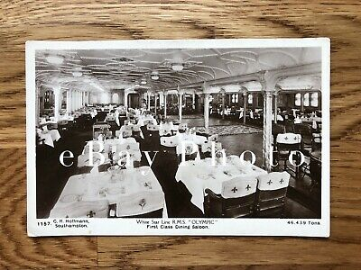 RMS Olympic Real Photo PC / 1st Class Dining Room/ White Star / Titanic