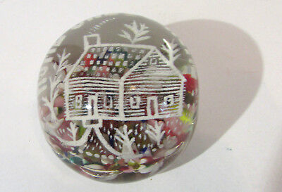 Home Sweet Home Glass Motto Paperweight Excellent Condition
